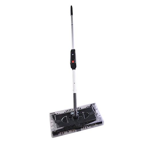 Preup Elektrischer swivel sweeper akkubesen kabellos Besen Boden und Teppich kehrer- Staubsauger mit akku, Elektrischer Besen Geeignet für Haus Büro Reinigung (Schwarz)