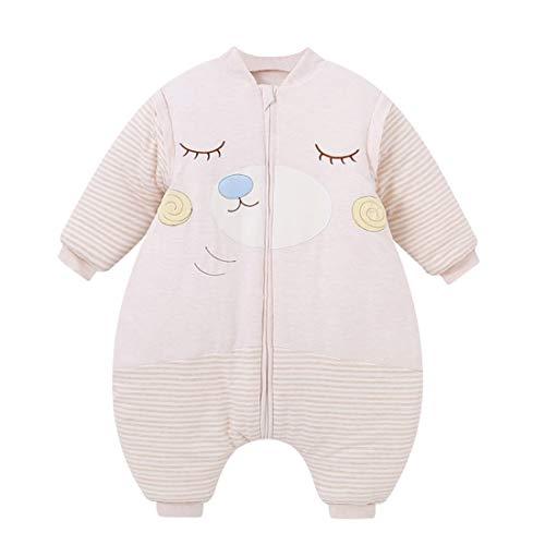 Happy Cherry Baby Ganzjahres Schlafsack mit Füßen mit abnehmbaren Ärmeln Bär Muster Winter Verdickt Neugeborene Pyjama 0-12 Monate Beige 66cm