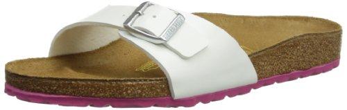 Birkenstock Classic Madrid Birko-Flor Damen Pantoletten Weiß (Weiss Lack /  LS Pink)
