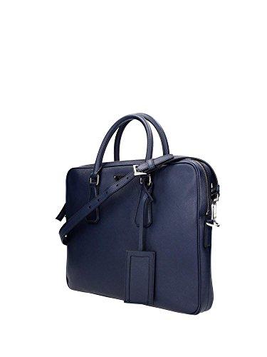2VE368BALTICO Prada Serviettes Homme Cuir Bleu Bleu