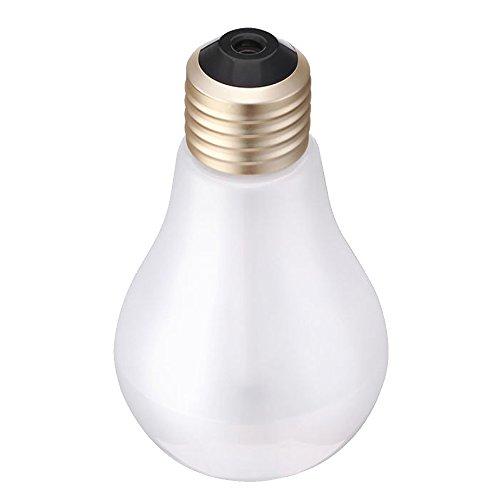 Gosear USB ultrasonidos humidificador de Escritorio de Oficina en casa Mini Colorido LED Noche luz 400 ML Bombilla Forma Botella purificador de Aire atomizador (Golden-Head Matte)