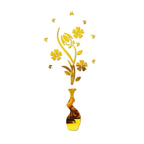 Vosarea 3D Acryl Wandaufkleber Blume und Vase Spiegel Aufkleber Wandtattoos (Golden)