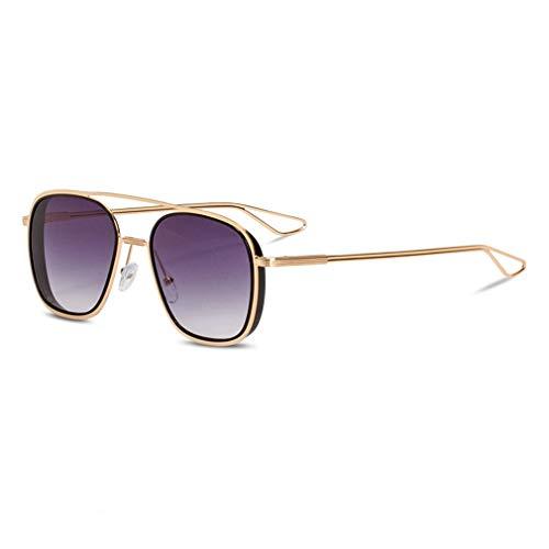 YHgiway Double Beam Gradient Lens Sonnenbrille-Fashion Women Men Vintage Retro Gold Frame Aviator Brille UV400 Sun Glasses YH7167,GoldFrame/GradualBlack