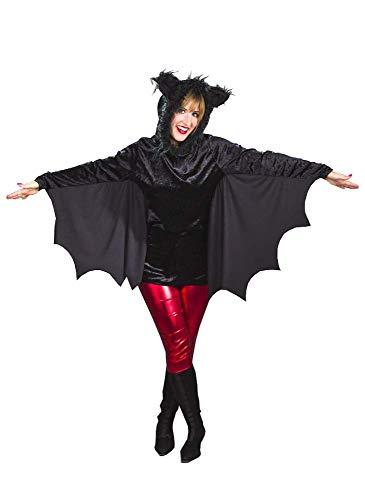 shoperama Fledermaus-Oberteil mit Kapuze Schwarz Halloween Damen Kostüm Flügel Cape Hoodie, Größe:36/38 (Flügel Cape Kostüm)