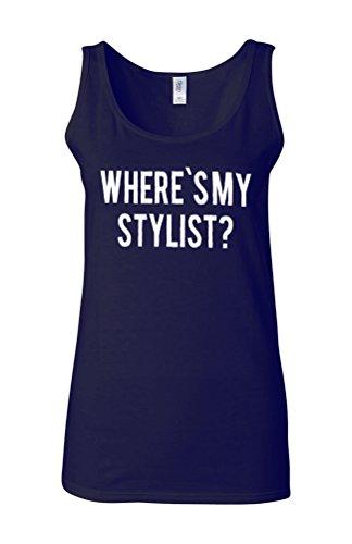 Where is My Stylist Designer Novelty White Femme Women Tricot de Corps Tank Top Vest Bleu Foncé