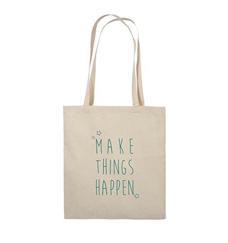 Comedy Bags - MAKE THINGS HAPPEN - Jutebeutel - lange Henkel - 38x42cm - Farbe: Schwarz / Pink Natural / Türkis