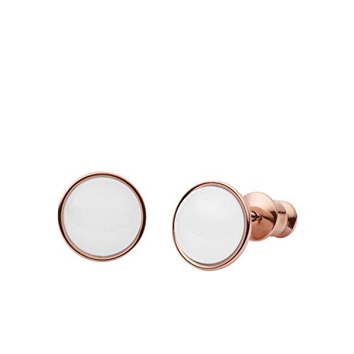 Skagen Damen-Ohrstecker Sea Glass roségold Edelstahl Glassteinen weiß SKJ0950P