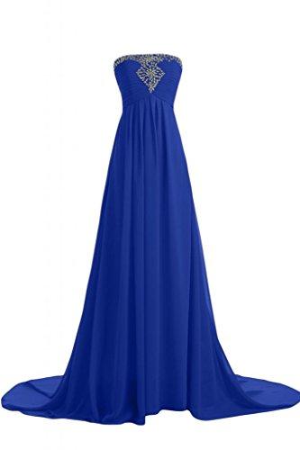 Sunvary elegante Chiffon abito da sera lungo senza spalline Pageant abito elegante Royal Blue