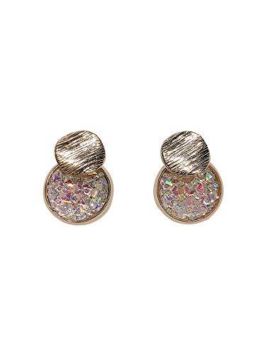 rbe Meerjungfrau Farbe Disc Flash Diamant Kleine Ohrringe Super Flash Zirkon Ohrringe ()