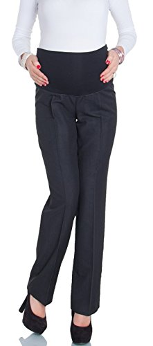 Happy Mama Femme. Maternité Pantalon style workwear. Pantalon de grossesse. 246p Noir Anthracite