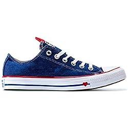 Converse Chuck Taylor All Star, Zapatillas para Mujer, Azul (Indigo/Enamel Red/White 000), 38 EU