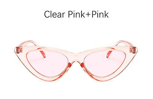 DAIYSNAFDN Cat Eye Shade für Frauen Mode Sonnenbrillen Frau Retro dreieckige Cateye Brille Clear Pink Pink