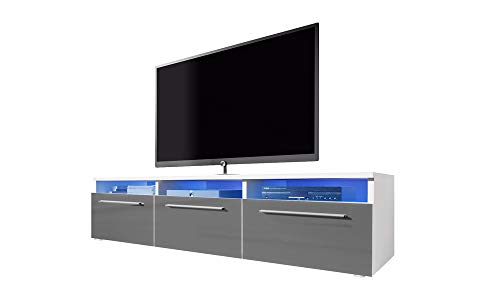 Selsey Lavello - Meuble TV/Banc TV (140 cm, Blanc Mat/Gris Brillant avec éclairage LED)
