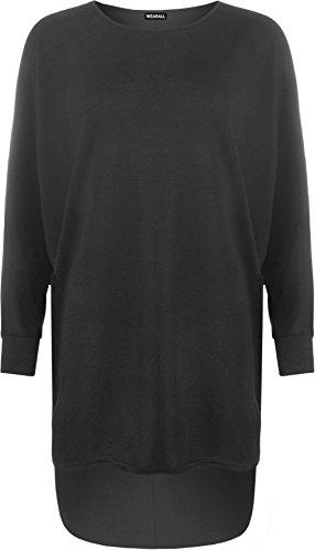 WearAll Women's Plus Plain Oversized Knit Long Sleeve Batwing Dip Hem Baggy Ladies Top 12-26