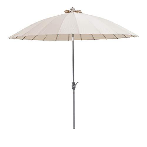 SORARA Sonnenschirm Parasol | Beige/Sand | Ø 260 cm | Rund Shanghai | Polyester 180 g/m² (UV 50+)| Kurbel & Pendel Mechanismus (excl. Base)