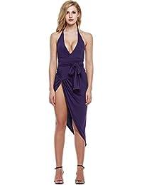 126ff31b498b Zeagoo Damen Sexy V-Ausschnitt Sommerkleid Bodycon Rückenfrei Bandage Kleid  Neckholder Partykleid Clubwear