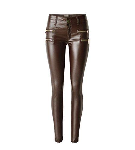 YiLianDa Élégant Sexy Leggings de Femmes Pantalon en Cuir PU Crayon Jeans Slim Pantalons 38