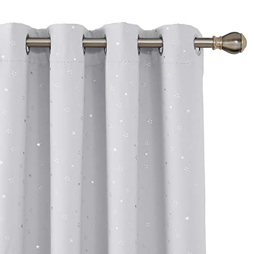 Deconovo tende oscuranti termiche isolanti con occhielli per cameretta bambini 140x180cm bianco 2 pannelli