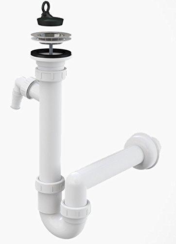 Spültisch Siphon Rostfreies Gitter DN 70 Anschlussrohr DN 40 Ablaufgarnitur mit Anschluss an Spülmaschine Waschmaschine Ablauf Spülbecken Spüle Geruchsverschluss