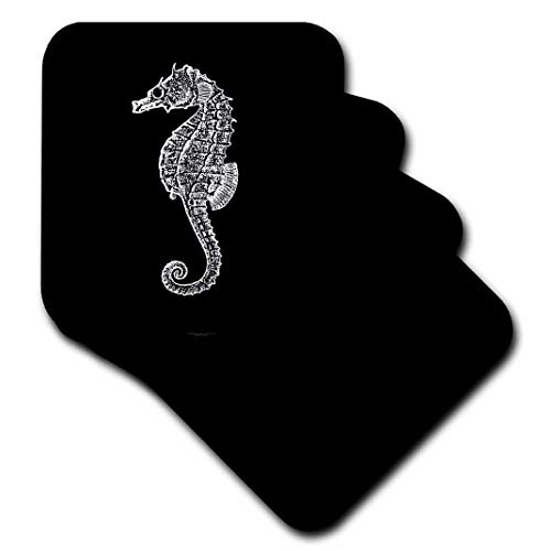 ntage Art-Seepferdchen in schwarz. Sea Horse. Ocean Marine Beach Aquarium Aquatic-Untersetzer, Gummi, schwarz, set-of-8-Soft ()