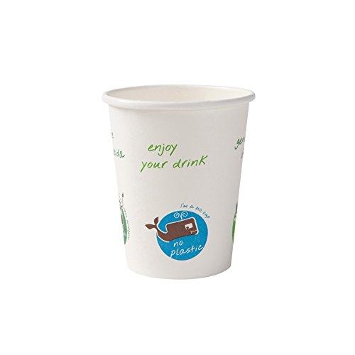 BIOZOYG Vaso orgánica descartable para Bebidas Calientes I Vaso heco de cartón Biodegradable, compostable I Vaso de café reciclable Blanca con Comic Print 1000 Piezas 200 ML 8 oz