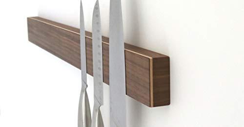 STREIFHOLZ magnetische Messerleiste aus Holz, selbstklebend ohne Bohren, Starke Magnete (Länge: 589mm für 10 Messer, Nussbaum) (Magnet Messer Holz)