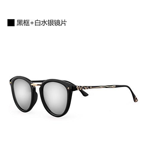 Komny Sonnenbrillen Damen Sonnenbrillen Polarisator Persönlichkeit Mode runde Gesicht Frauen Flut schwarzen Rahmen weiß Quecksilber Linse