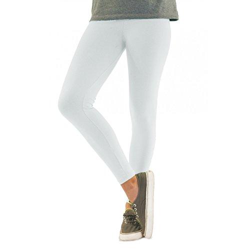 Blickdichte Damen Leggings aus Baumwolle Leggins Knöchellang in schwarz weiß grün grau rot gelb, Farbe: Weiß, Größe: 40-42