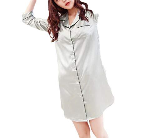 CuteRose Women's Lapel Charmeuse 3/4 Length Chemise Silky Sleeping Dress Grey M -