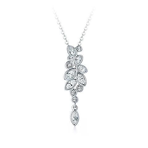 MYJS Diapason Enchanted Drop Necklace Rhodium Plated with Swarovski Crystals, Bridal Wedding Pendant