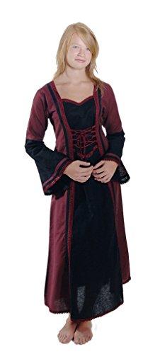 Bäres Mittelalter Kleider kleine Maid - Kinder Marktkleid - Kinder Brenda für 9-11 jährige/bordeaux / (Kostüme Halloween Jährigen Für 11)
