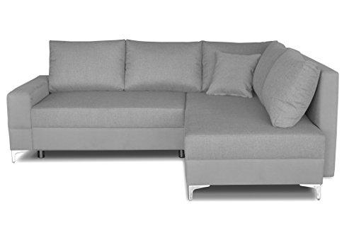 Windsor & Co Droit Convertible Canapé d'Angle, Tissu, Gris Clair, 235 x 190 x 88 cm