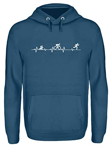 Shirtee Triathlon Heartbeat - Unisex Kapuzenpullover Hoodie -L-Azurblau (Triathlon Hoodie)