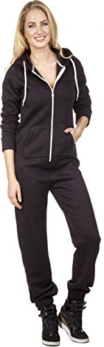 Loomiloo® Jumpsuit Onesie Overall als Freizeitanzug Hausanzug Trainingsanzug Pyjama für Damen und Herren (S/M, Schwarz Einfarbig)
