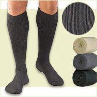 Activa H3403 Herren Mikrofaser Nadelstreifen Kleid-Socken 20-30 mmHg - Size & Color-Large Tan (Herren-mikrofaser-kleid-socken)