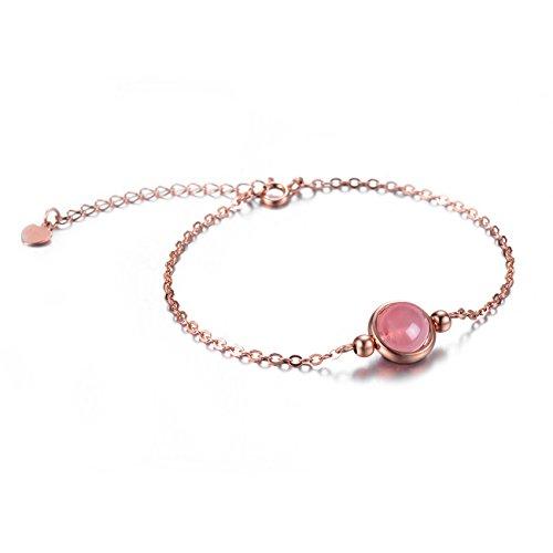 Dalwa Damen Rosegold Armband aus 925 Sterling Silber mit Edelstein Rosenquarz Verstellbar inkl. Geschenkverpackung