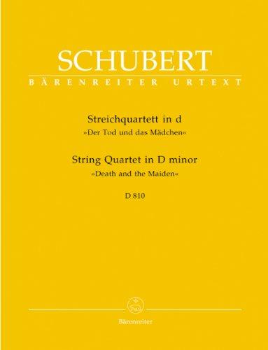 """Streichquartett d-Moll D 810 """"""""Der Tod und das Mädchen"""""""".Stimmensatz, Urtextausgabe"""