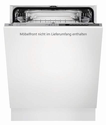 AEG FSE53600Z sparsamer Einbaugeschirrspüler (vollintegriert) / 234 kWh pro Jahr / Silber und Weiß / Spülmaschine mit Softspikes / Beladungserkennung mit Programmautomatik / AirDry-Funktion