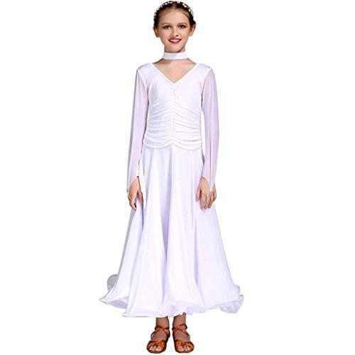 Z&X Girl Es Dance Suit Modern Ballroom Dance Kleid Kleidung Lange Ärmel Kostüme Milch Seide/Chiffon - Fat Suit Kostüm Tanz