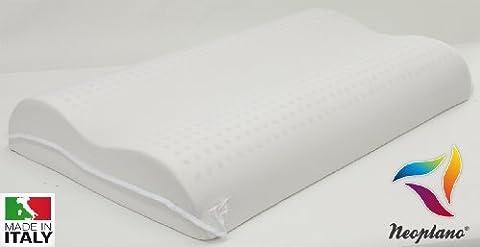 Nackenstützkissen als Doppelwelle in 100% Naturlatex und Baumwolle, Kopfkissen fürs Bett 13 cmHypoallergen Antimilbe Bakterizid Atmungsaktiv