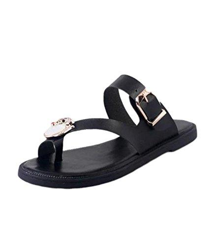 YOUJIA Casual Flat Sandales Beach Flip Flops Chaussure D Été Femme Noir