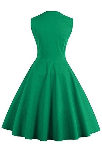 Babyonline d.r.e.s.s Damen 50 60er Ärmellos Swing Abendkleid Polka Dots Grün XL - 2