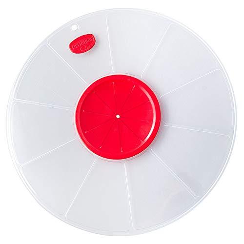 Dr. Oetker Spritzschutzdeckel Ø 30 cm, passt auf große und kleine Schüsseln, verhindert lästiges Spritzen des Teigs beim Mixen und Aufschlagen, (Farbe: weiß/rot), Menge: 1 Stück