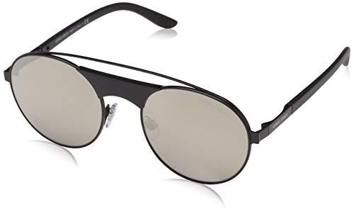 Armani Herren 0AR6047 30015A 53 Sonnenbrille, Matte Black/Lightbrownmirrordarkgold,