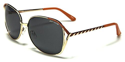 New BeOne ENZO Polarised Ladies Fashion Metallrahmen Sonnenbrillen Süßigkeit Twist Design (Gold & Pfirsich Rahmen grau Objektiv) -