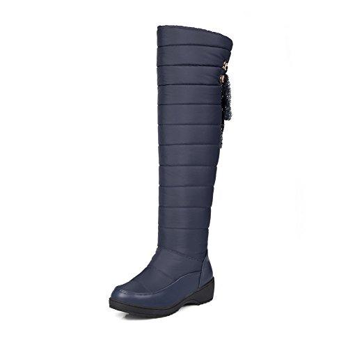 VogueZone009 Damen Blend-Materialien Rein Schnüren Mittler Absatz Stiefel mit Lesbie, Schwarz, 37