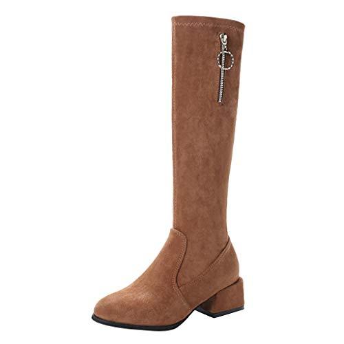 Langschaft Stiefel Damen Schuhe Elegante Roma Vintage mit Blockabsatz Schenkelhoch Wildleder Hohe Schuhe mit Absatz Klassische Freizeit Schlupfstiefel Riou Günstig