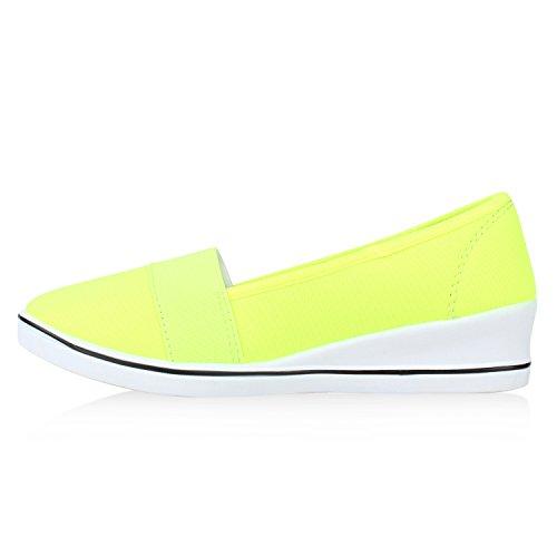 Damen Keilpumps Wedges Canvas Schuhe Pumps Keilabsatz Neongelb