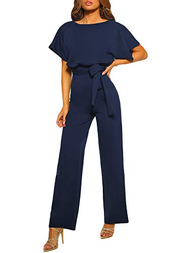 Happy Sailed Damen Langarm O-Ausschnitt Elegant Lang Jumpsuit Overall Hosenanzug Playsuit Romper S-XL, blau, Small(EU36-38)