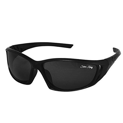 Silver Kartz Black Track Wrap-Around Unisex Sunglasses (wy190)